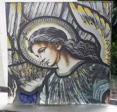Stained Glass - Pre-Raphaelite Angel kiln fired.transfer pane