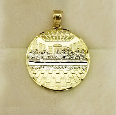 10K Yellow Gold Last Supper Pendant Last Supper Medal 1.1 inch