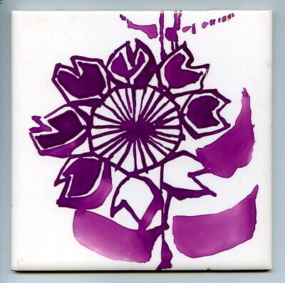 "Hand painted 6""sq trial purple lustre tile by Kenneth Clark, 1974"