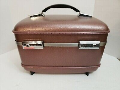 Vintage American Tourister Train Case Plum Cosmetic Hard Luggage USA Tray