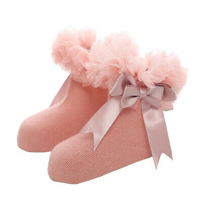 Ruffle Baby Girls Infant Kids Socks Princess Ankle Bowknot Frilly Sock Lace Trim