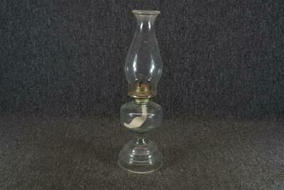 "16.5"" Tall Clear Glass Oil Lamp With Shade"