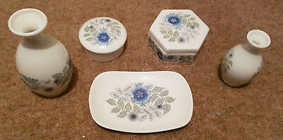 Job Lot 5 Wedgwood Clementine Items trinket boxes, vases & pin tray