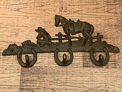 Cast Iron HORSESHOE HORSE Towel Coat Hooks Hat Hook Key Rack COWBOY Rustic Ranch