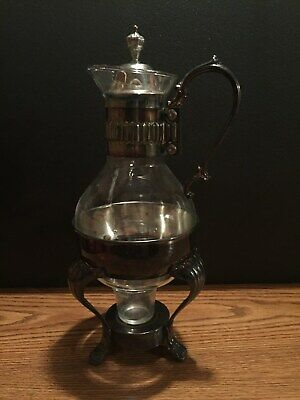 Silver Plated & Glass Coffee Carafe with Warmer Stand