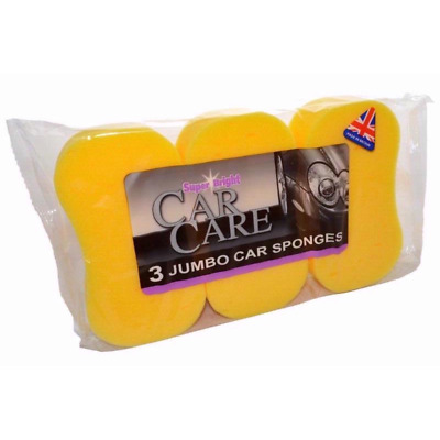 Multi-pack 3 JUMBO CAR WASH Washing SPONGE Large Made in England uk