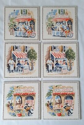Set of 6 Vintage Pilkington Ceramic Tiles Cafe Bistro Scenes France Italy Spain