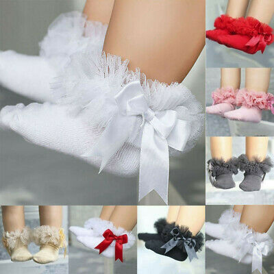 Ruffle Sock Lace Infant Socks Princess Trim Girls Baby Kids Frilly Ankle Bowknot