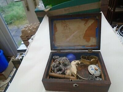 Antique wooden box & contents   collection of unusual curiosities  TAKE A LOOK