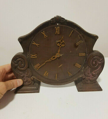 Antique vintage wall mantel carriage clock electric mechanism carved wooden