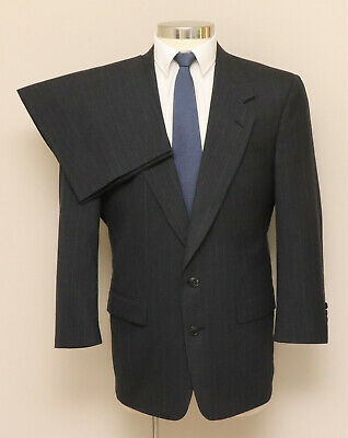 Mens 40R Society Brand 2 Piece Charcoal Pinstripe Wool Suit