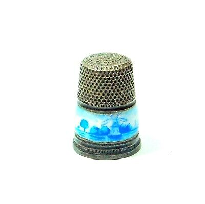 Vintage Guilloche Enamel On 935 Sterling Silver Germany Thimble Holland Motif