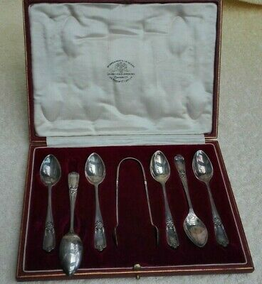 Goldsmiths & Silversmiths Co Ltd Set of 6 Antique/Vintage SilverTeaspoons+Tongs