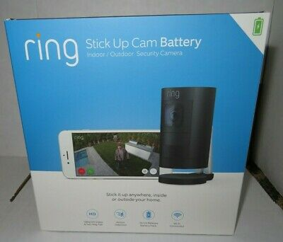 Ring stick Up Cam Battery Wireless Indoor/Outdoor Security Camera Black Sealed