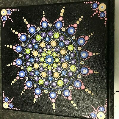 Mandala dot on black canvas - original and hand painted 20x20cm