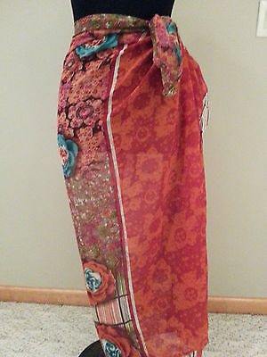 Woman Bathing Suit Wrap red Cover Skirt one Size modest swimming swim suit
