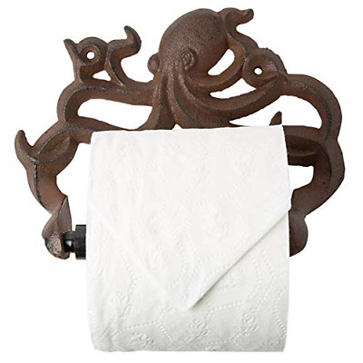 Cast Iron Octopus Toilet Paper Roll Holder Decorative Wall Mounted Decor Brown