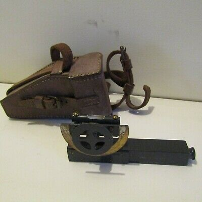 Antique clinometer military leather case vintage tool Stanley of London