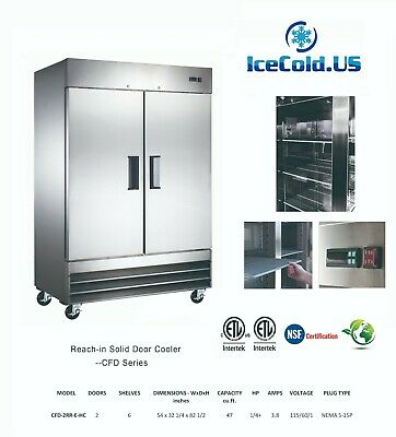 Reach-In Solid 2 Door Commercial Refrigerator Stainless Cooler Local Pickup only