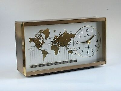 Junghans World Time Zone Brass Cabinet Table Clock (Quartz W756) Germany VINTAGE