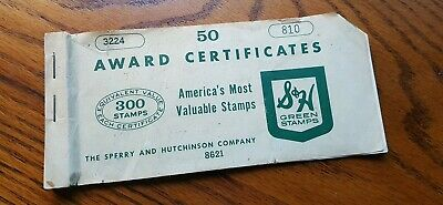 VINTAGE S&H GREEN STAMPS AWARD CERTIFICATE COUPONS 1500 Stamp Value