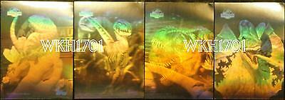 JURASSIC PARK GOLD 3-D HOLOGRAM STICKER CARDS Set of 4 + Glow In Dark Dinosaurs!