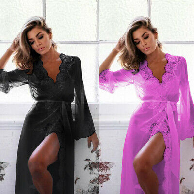 Sexy Lingerie Sleepwear Lace Women's G-string Long Bathrobe Night Gown Robe Hot