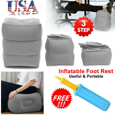 Inflatable Travel Footrest Pillow Portable Plane Train Kids Bed Foot Rest Pad US
