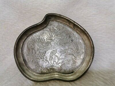 Chinese silver plate heart shaped love bird motif dynasty silver plate