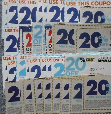 40 pc Lot Bed Bath & Beyond Coupons 20% off Single Item