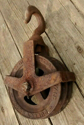 Antique Yale & Towne Industrial Cast Iron Dual Pulley Chain Block - Barn Find