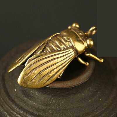 Chinese Collection Old Asian Antique Collectible Brass Cicada Exquisite Statue