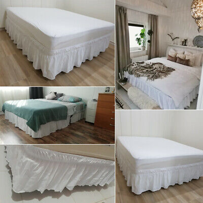 Bed Skirt Fitted Valance Sheet Poly-Cotton Bed Sheet King Queen Twin Full AU!