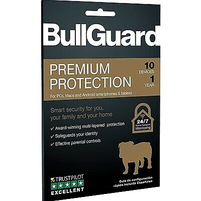 NEW! Bullguard Premium Protection 2019 1 Year/10 Device 10 Pack Multi Device Ret