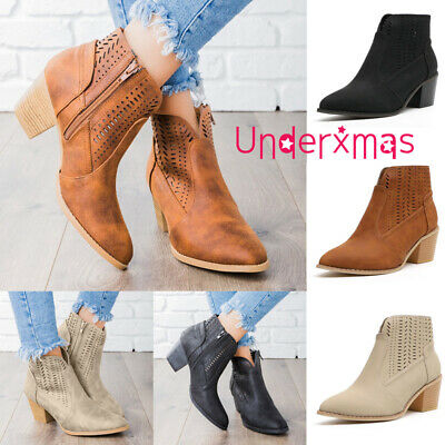 Womens Chunky Block Heel Ankle Boots Ladies Cut Out Booties Chelsea Shoes Size