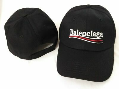 New Balenciaga Campaign Bernie Embroidery Baseball Hat Adjustable Cap Black
