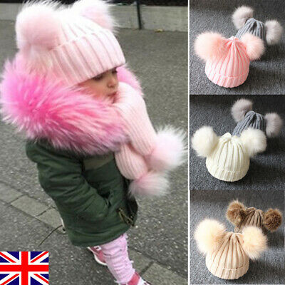 Baby Girl Boy Knitted Bobble Hat Double Pom Winter Warm Crochet Stretchy Hat UK