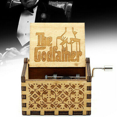 The Godfather Music Box Hand Crank Wooden Engraved Kids Christmas Gift 64*52mm