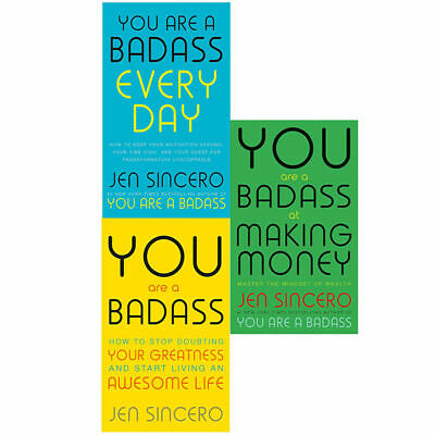 Jen Sincero You Are A Badass Every Day, At Making Money 3 Books Collection Set