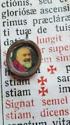 RARE ANCIENT ST. BENEDICT PATRON EXORCIST : Shield Bronze Holy Medal - 1700's