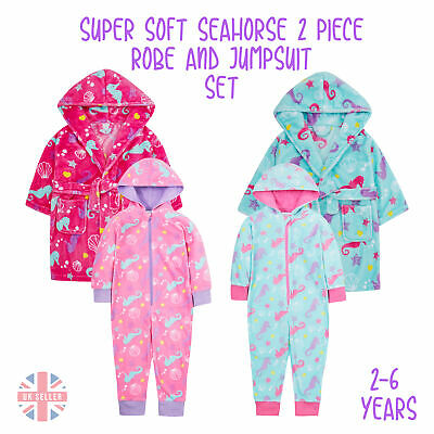 Girl Kids Dressing Gown Robe Jumpsuit Set Micfrofleece Soft Seahorse Cosy 2-6 Y