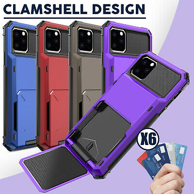 For iPhone 11 Pro Max 2019 Shockproof Impact Card Wallet Holder Slot Case Cover