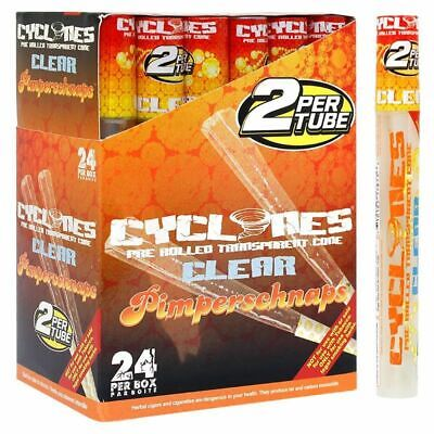 Cyclones Clear Pimperschnaps - Box 24 TUBES - PreRolled Transparent 2 Cones Pack