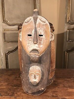 Antique African Lega Tribal Bwami Face Mask Pigment Beard Remnants Congo Rare!!!