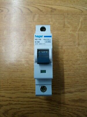 Hager ND150 50 Amp Single Pole Type D MCB Circuit Breaker New Old Stock