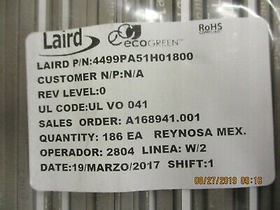 Laird Technologies - 4499Pa51H01800 - Gasket Fabric/Foam 5X457.2Mm Rect