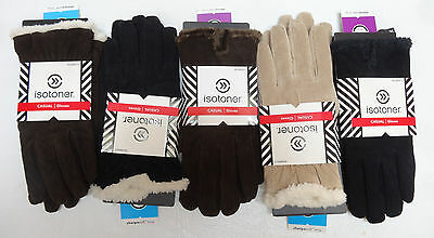 ISOTONER Womens Casual Suede Microluxe or Sherpasoft lining gloves L NEW