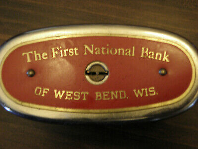 Vintage Automatic Recording Safe Co. The Branch Bank.  West Bend Wis. Red Bank