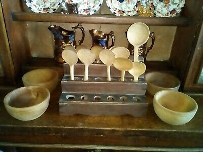 Antique/Vintage Wooden Treen Welsh Cawl/Soup Rack, Spoons, Bowls, Collection.