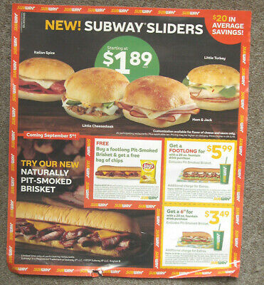1 Subway Coupon Sheet / Flyer Expire 10/27/2019
